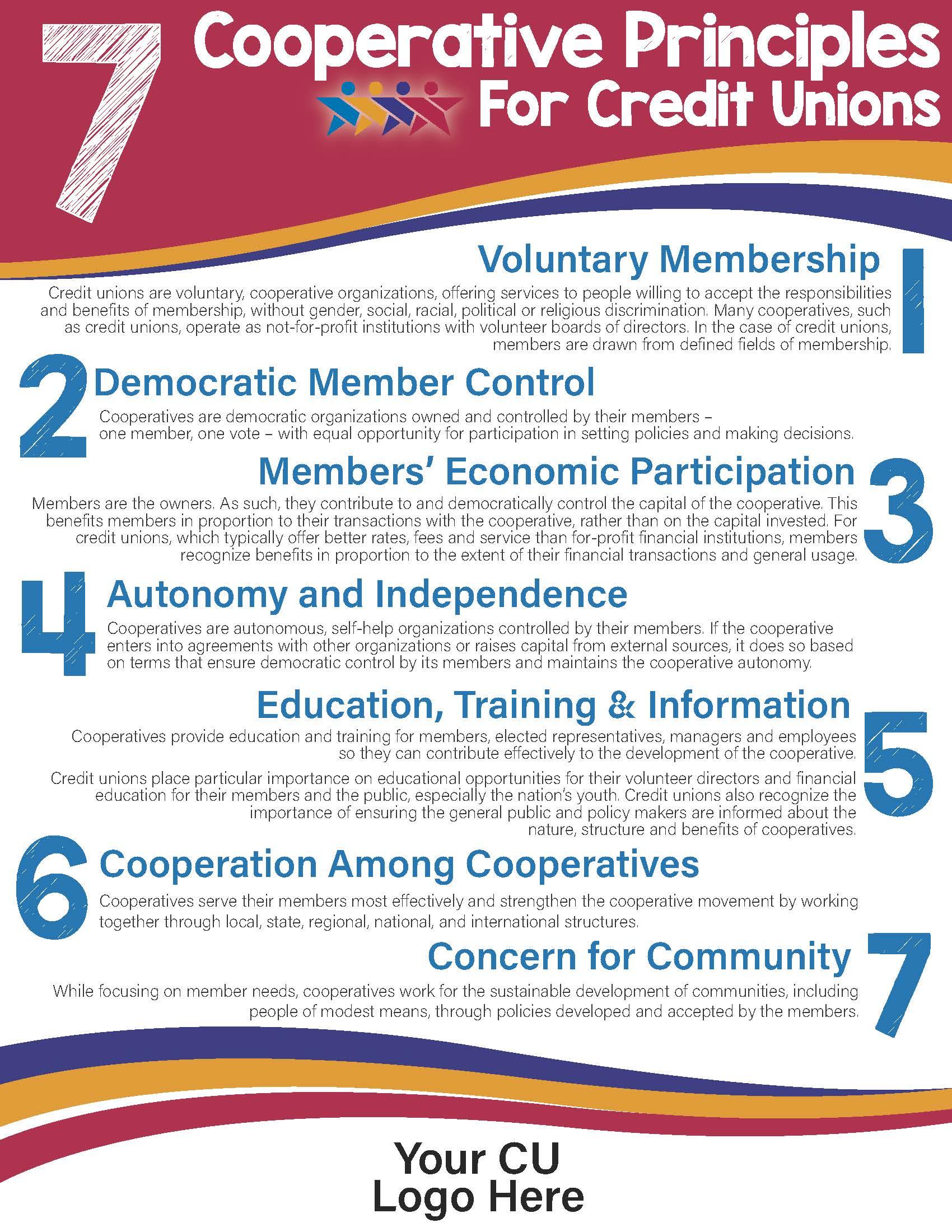 CCUA's 7 Cooperative Prinicples for Credit Unions