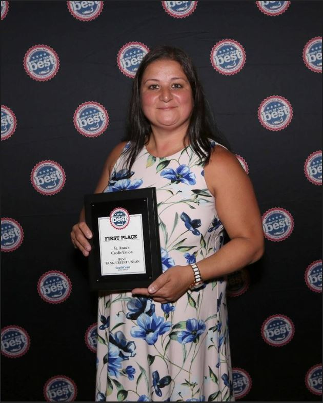 Pictured is St. Anne's Credit Union's Fall River-South Main Street Branch Manager, Elizabeth Carreiro accepting the SouthCoast Media Group's Best of the Best award.