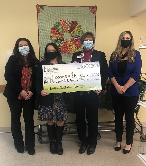 (l to r): Irene Camire, IC Ayer Branch Manager; Jennifer Maguy, Community Coordinator from IC; Patricia Stern, Executive Director of Loaves & Fishes; and Holly Sanchez, SVP of Human Resources at IC.