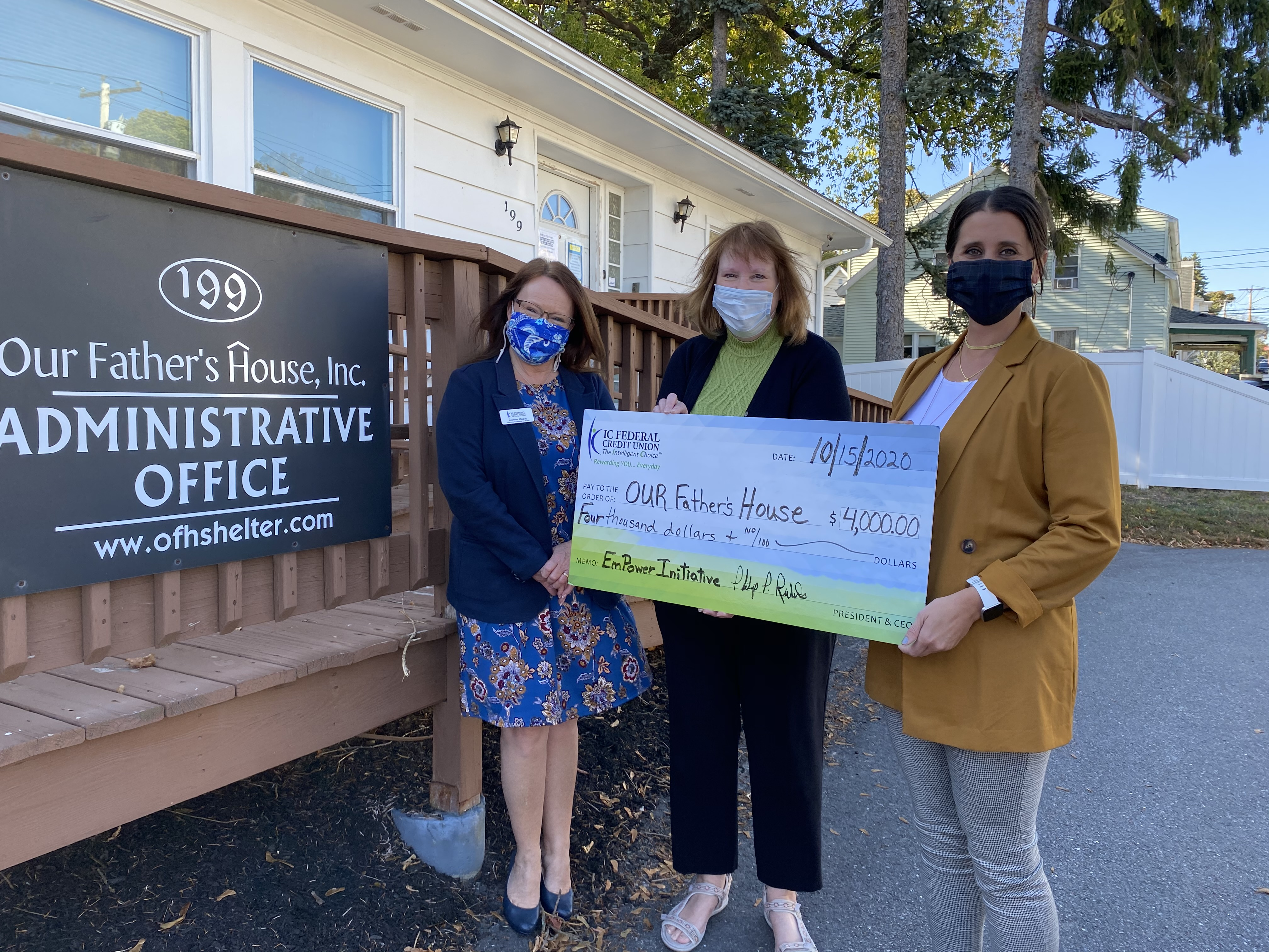 (l to r): Jennifer Maguy, Community Coordinator from IC; Judith Nest-Pasierb, Executive Director of Our Father's House; and Carolyn Perla, SVP of Retail & Marketing at IC