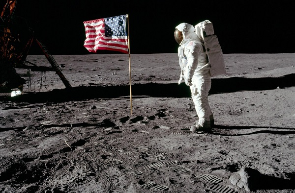 Astronaut Buzz Aldrin pays his respects to the U.S. flag during the Apollo 11 mission on the moon in July 1969. PHOTO: Neil Armstrong / NASA file.
