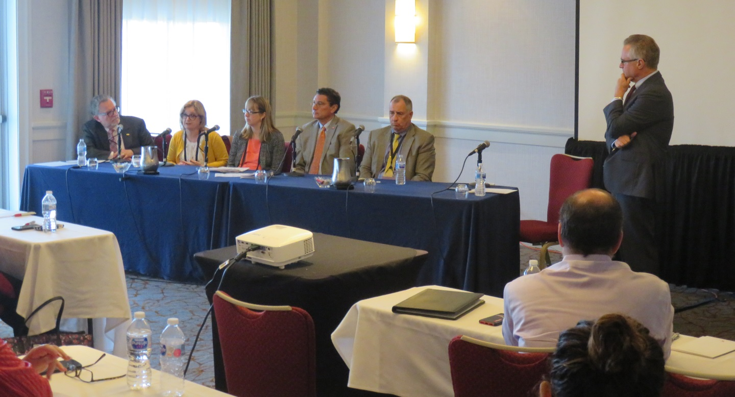 Barry Armstrong moderates a panel discussion on elder financial exploitation during the New England Automated Clearing House Association's 2019 Payments Management Conference.