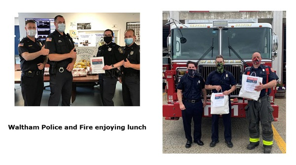 Waltham Police and Fire enjoying lunch