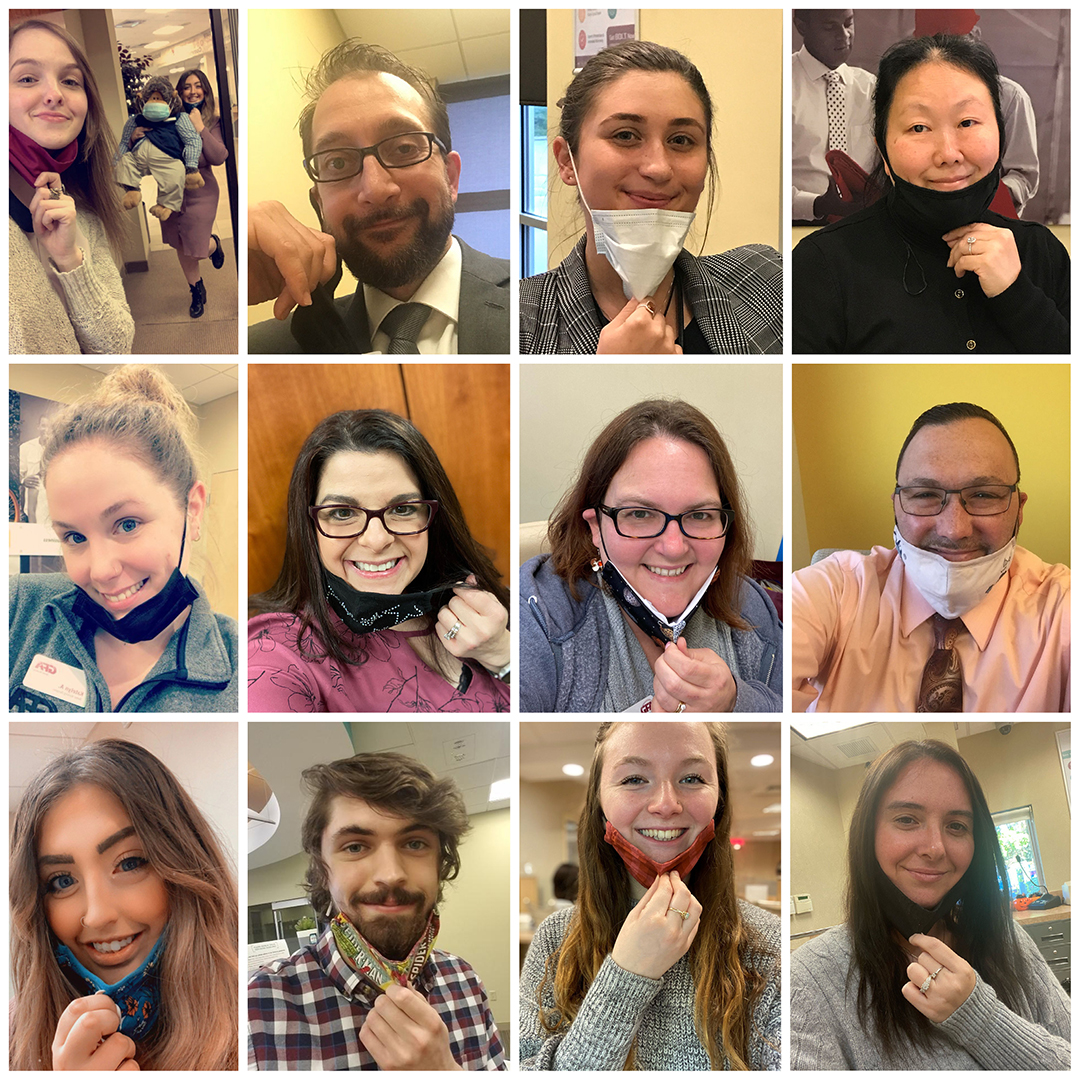 """""""We miss seeing YOUR smiling faces and thought you would love to see OURS! Thank you to everyone for joining us in being safe by wearing your face mask and keeping socially distant when visiting us inside our branches."""""""